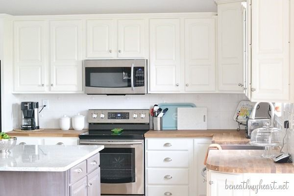 Kitchen Makeover Reveal Painting oak cabinets white, Painting oak