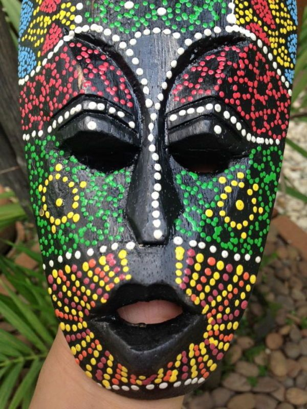 Mask Tribal Dot Aboriginal Hand Carved Painted Art Face African Home ...