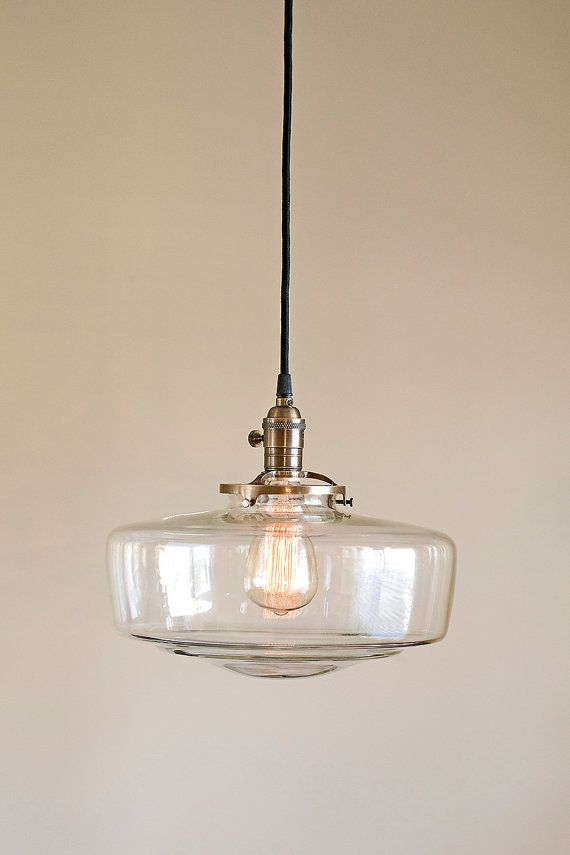 Large Clear Glass Schoolhouse Light Fixture Pendant Etsy Schoolhouse Pendant Lights Pendant Light Fixtures School House Lighting