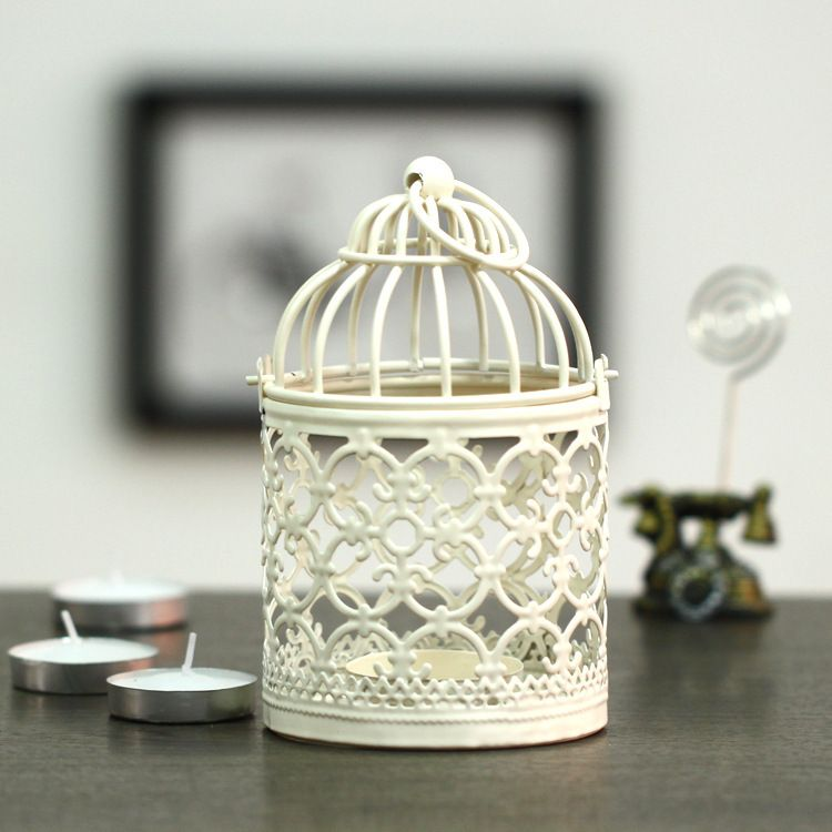 Candle Holders White Mini Decorative Metal Bird Cage