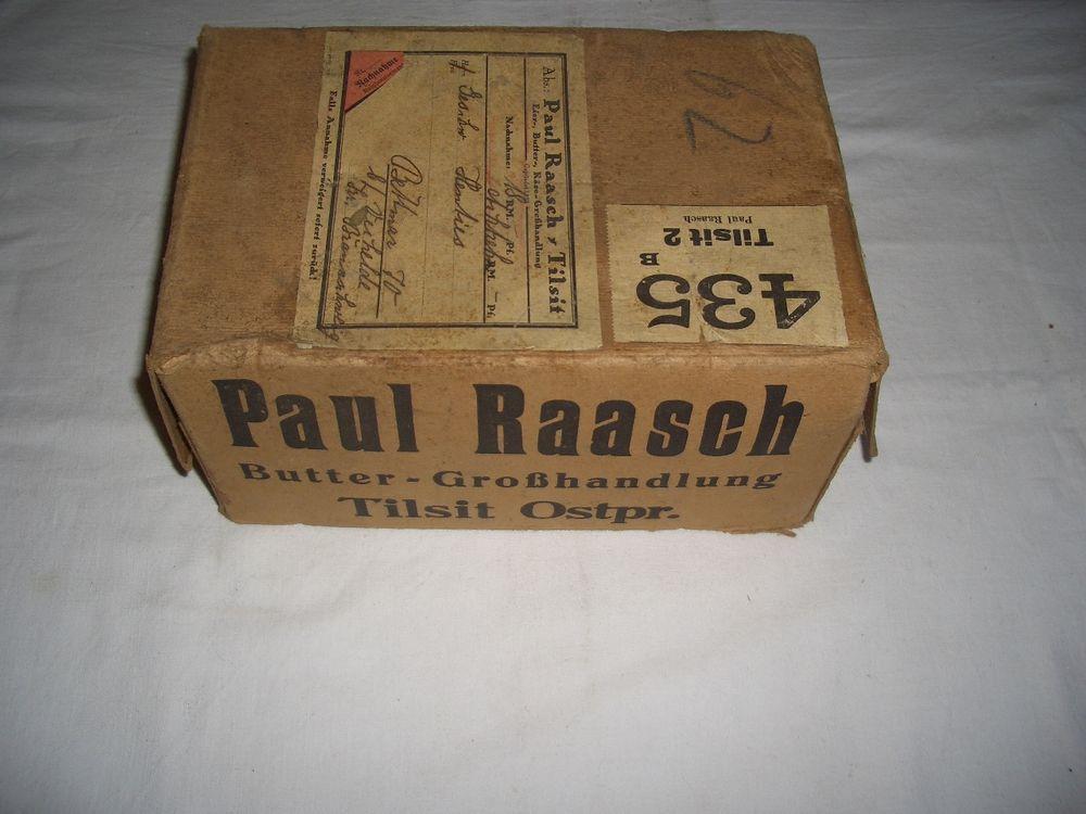 Karton, Paul Raasch Butter-Grosshandlung Tilsit Ostpreußen!Extrem Selten!!!