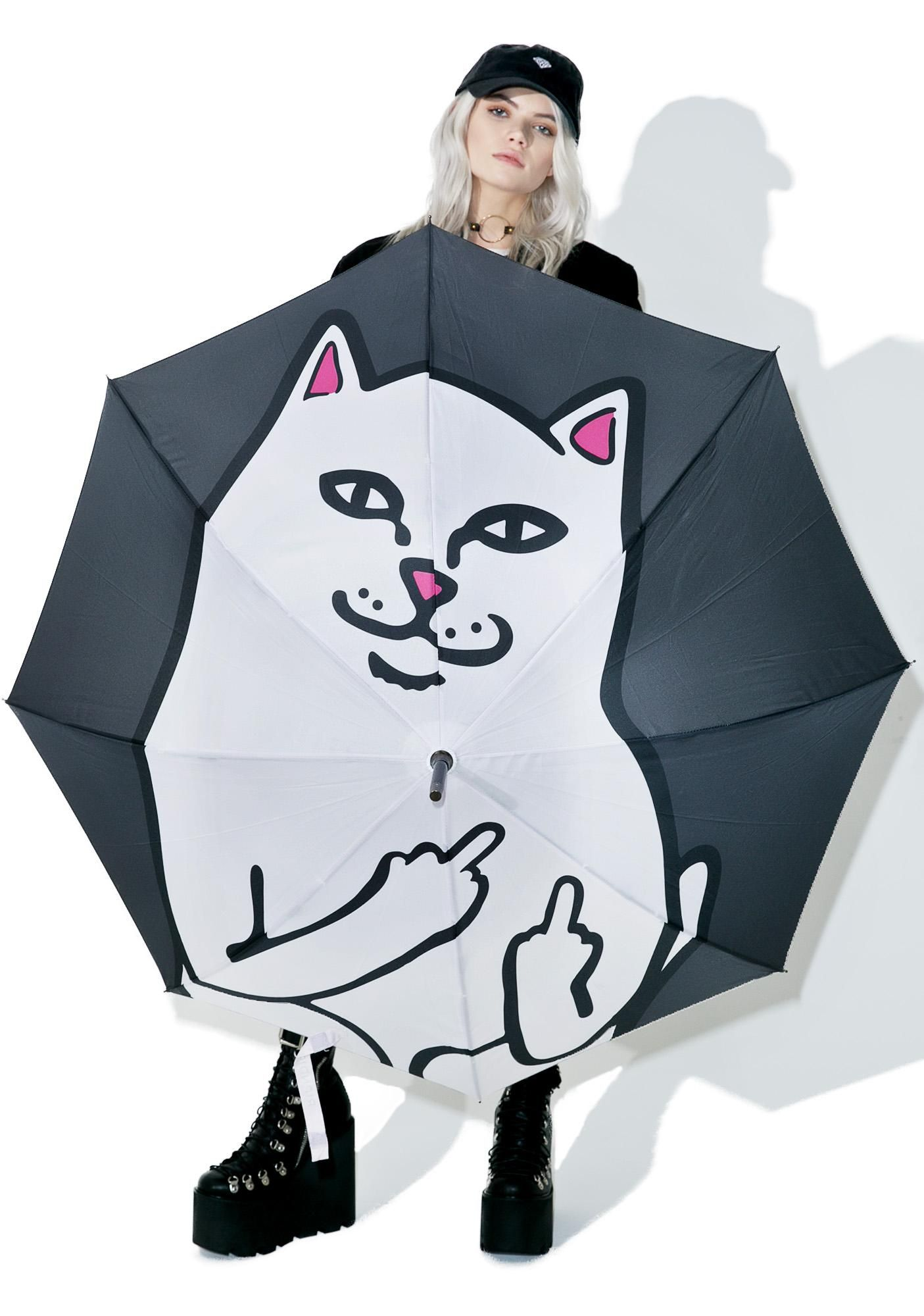7798efc1756 RIPNDIP Lord Nermal Umbrella ...stay dry with the cutest cat watchin  over  ya. This automatic umbrella features a dope huge Nermal print and a sturdy  wooden ...