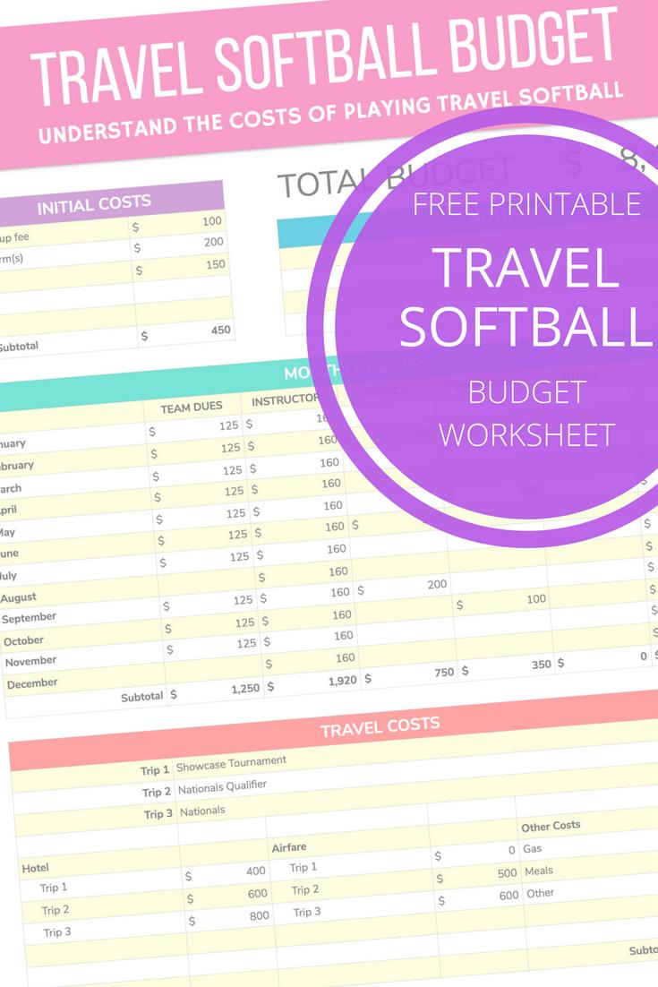 Free Travel Softball Budget Worksheet Travel Softball Budgeting Worksheets Softball