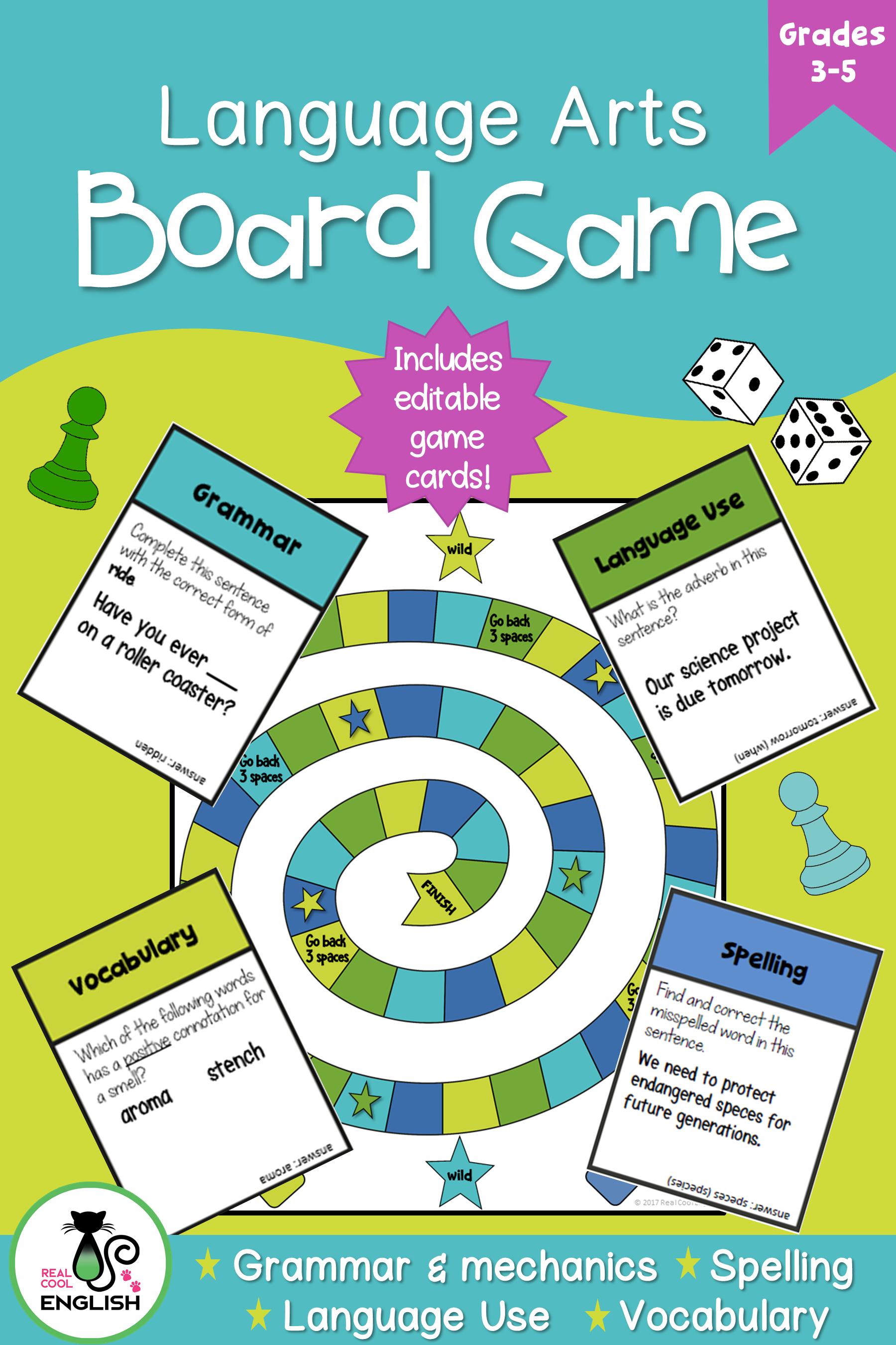 Language Arts Game For Grammar Vocabulary And Spelling
