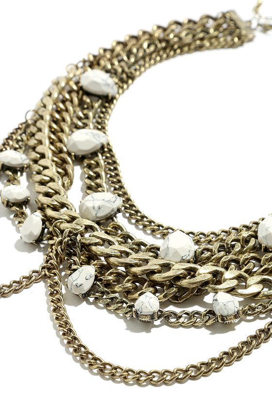 Mar-Belle Of the Ball Gold and Ivory Statement Necklaceat Lulus.com!