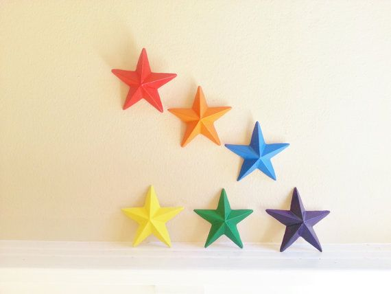 Rainbow stars wall hanging stars star decor by RedwoodStoneworks ...