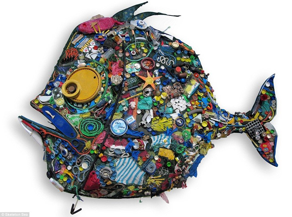 Amazing artworks made from beach trash and items found in the waves