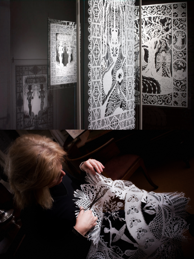 Paper artist Karen Bit Vejle working on one of her installations at ...