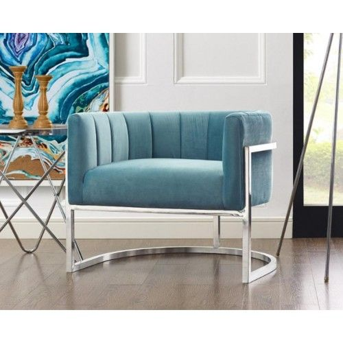 Fabulous Light Blue Velvet Contemporary Modern Silver Frame Chair In Machost Co Dining Chair Design Ideas Machostcouk
