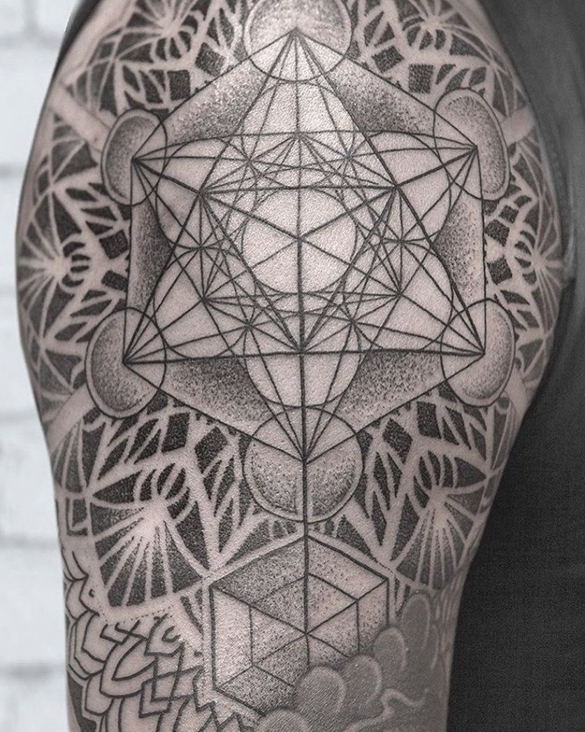 Great start on Tri s sacred geometry shoulder tattoo  Can t wait to finish this project   Los Angeles booking requests   or   #sacredgeometrytattoo #metatron #blackandgrey #oakandpoppy #nature #blacktattooart #blackworkers #btattooing #sacredgeometry #contemporarytattooing #tattoo #tattoos #tat #ink #inked #tattooed #tattoist #coverup #art #design #instaart #instagood #sleevetattoo #handtattoo #chesttattoo #photooftheday