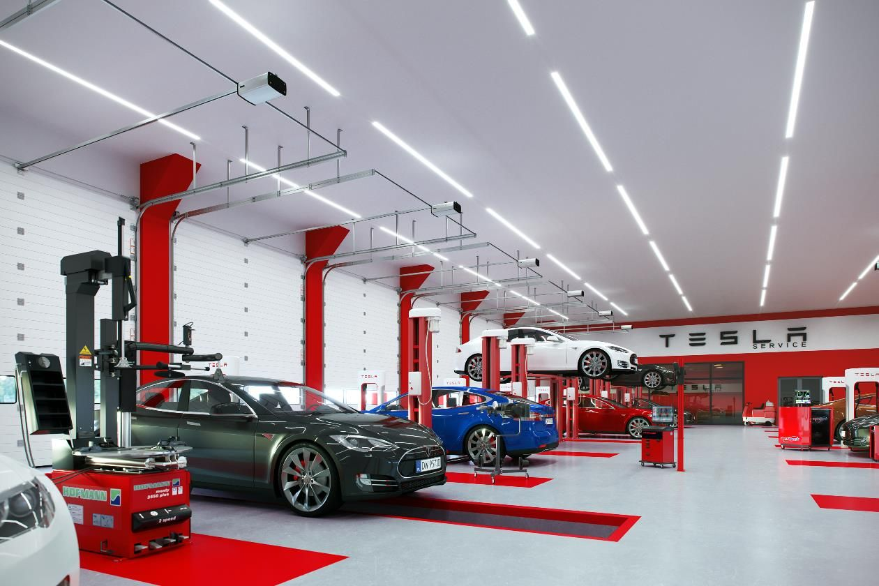 Car TESLA with LED lights Automotive and