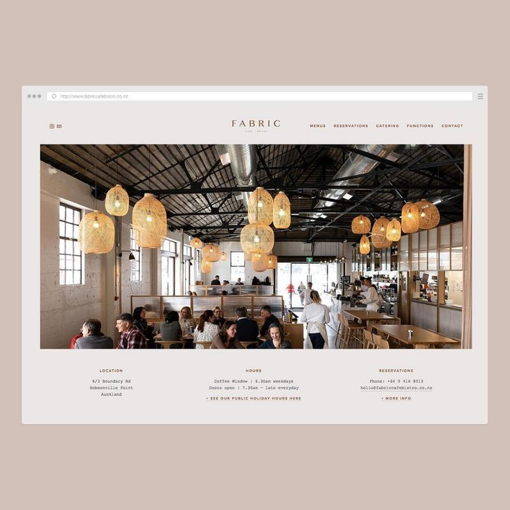 """Jade Young Studio on Instagram: """"Homepage design for FABRIC. Beautiful imagery supplied by Jono Parker. www.fabriccafebistro.co.nz - - - - - #branding #graphicdesign #logo…"""""""