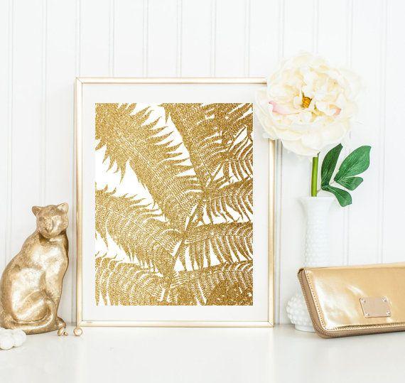 gold Palm Leaf Print, Plant Photo, botanical Wall Art, Large ...
