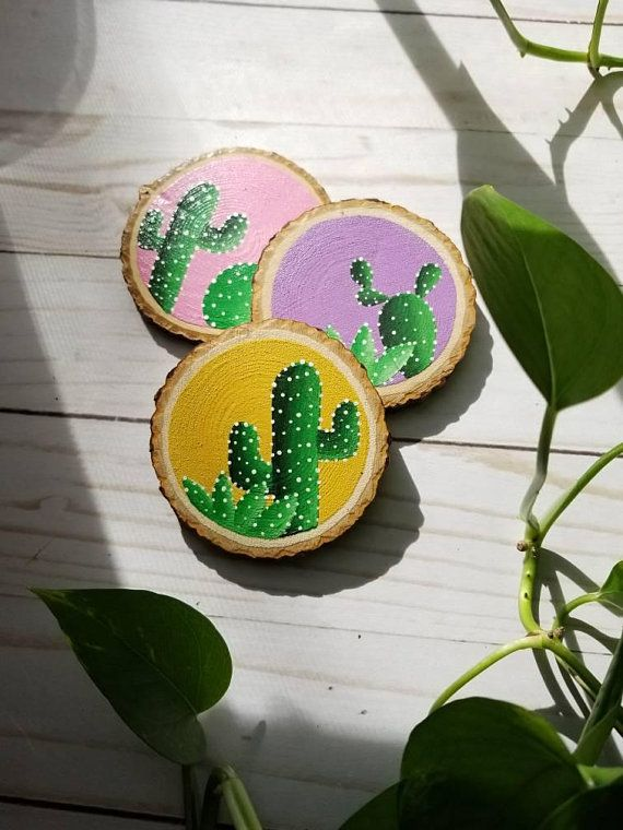 Wooden Cactus Coaster Set, cacti gifts, host gift, gift for Mom, cactus decor, birthday gift, Christmas gifts, gift for her