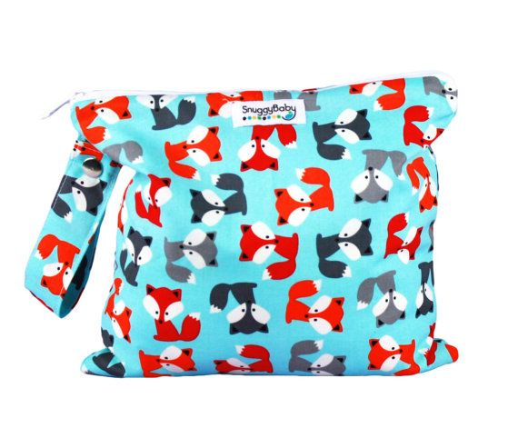 Wet Bag with Zipper and Snap Open Handle  Foxy  FAST by SnuggyBaby