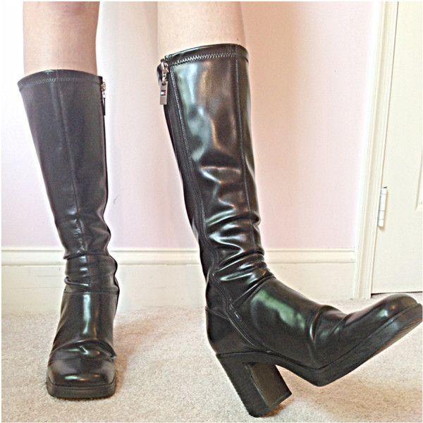 99a72fc48 Vintage 90s Tommy HIlfiger boots 90s goth grunge tall boots black... ( 62