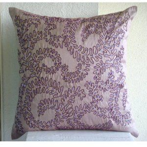 Purple Ivy - Throw Pillow Covers - Silk Pillow Cover with Embroidery :     Price: $51.95    .        Purple Ivy - Decorative Throw Pillow Cover. Pillow Cover is made on a dull pink purple color art silk dupioni fabric embroidered to form an ivy design using a purple thread highlighted with sequins on the pillow cover. The back of the pillow is the same dull pink purple Ar...Check Price >> http://gethotprice.com/appin/?t=B005EMUFM2