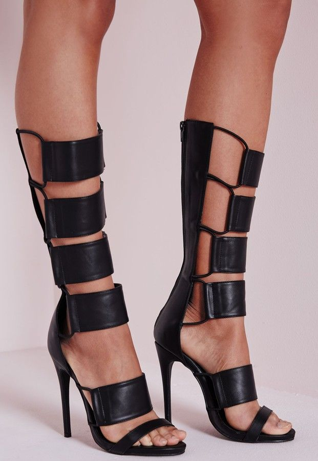 40e0916eb69 Shop for Elastic Detail Gladiator Heeled Sandals Black by Missguided at  ShopStyle. Now for Sold Out.
