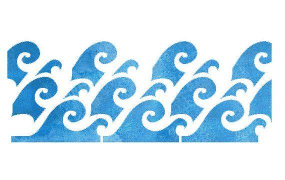 Waves Border Design Stencil Products Stencil designs, Wave