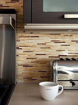 horizontal glass tile backsplash | backsplash decor gallery