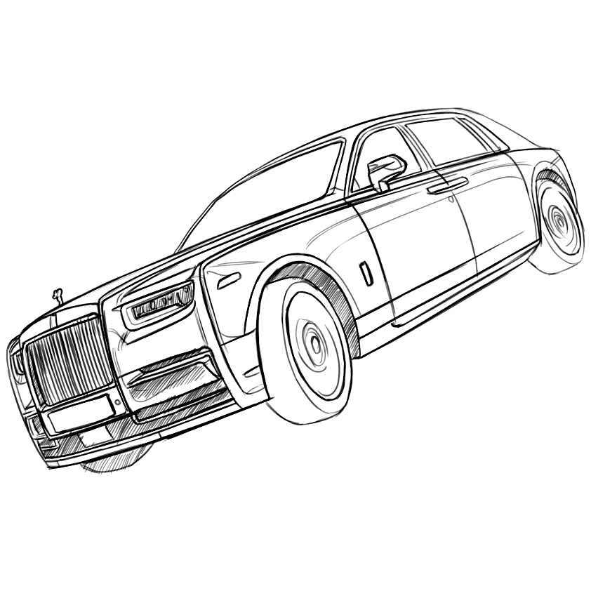 Rollsroyce Phantom 2018 Sketch By Baaam7991