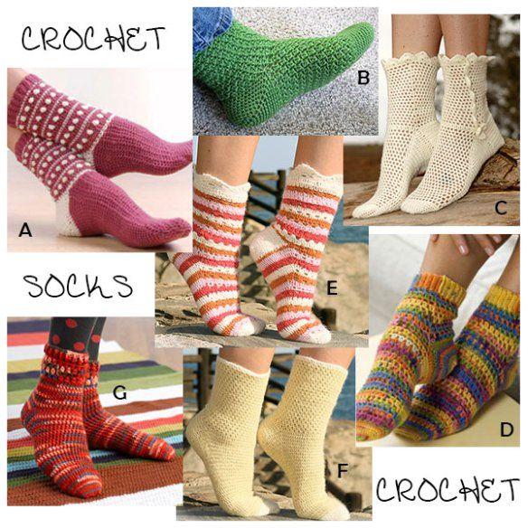 Crochet Socks Seven Free Patterns Crochet Pinterest Crochet