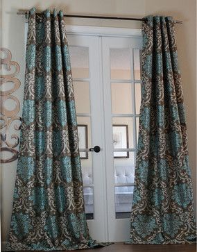 Milan Damask Smoky Teal 96 Inch Curtain Panel Contemporary