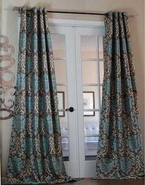 milan damask smoky teal 96 inch curtain