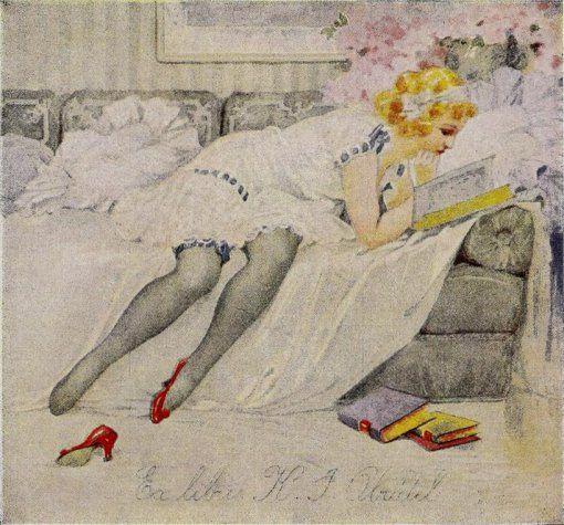 Leitura, Karel Simunek (República Checa. 1869-1942) — Selo de livro