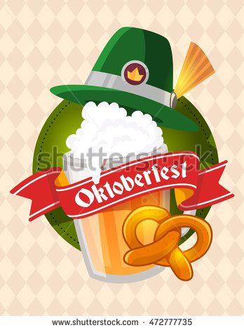 Vector colorful illustration of big mug of yellow beer with green ... 4a3c2fe10ac