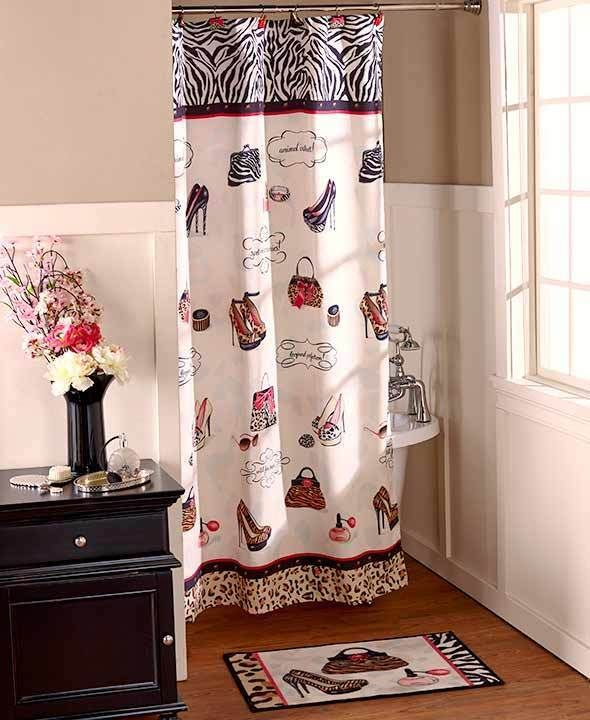 Hollywood Glamour Chic Fashion Diva Shoe Shower Curtain Leopard Zebra Bath Set