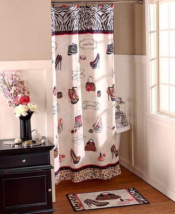 Hollywood Glamour Chic Fashion Diva Shoe Shower Curtain Leopard Zebra Bath  Set