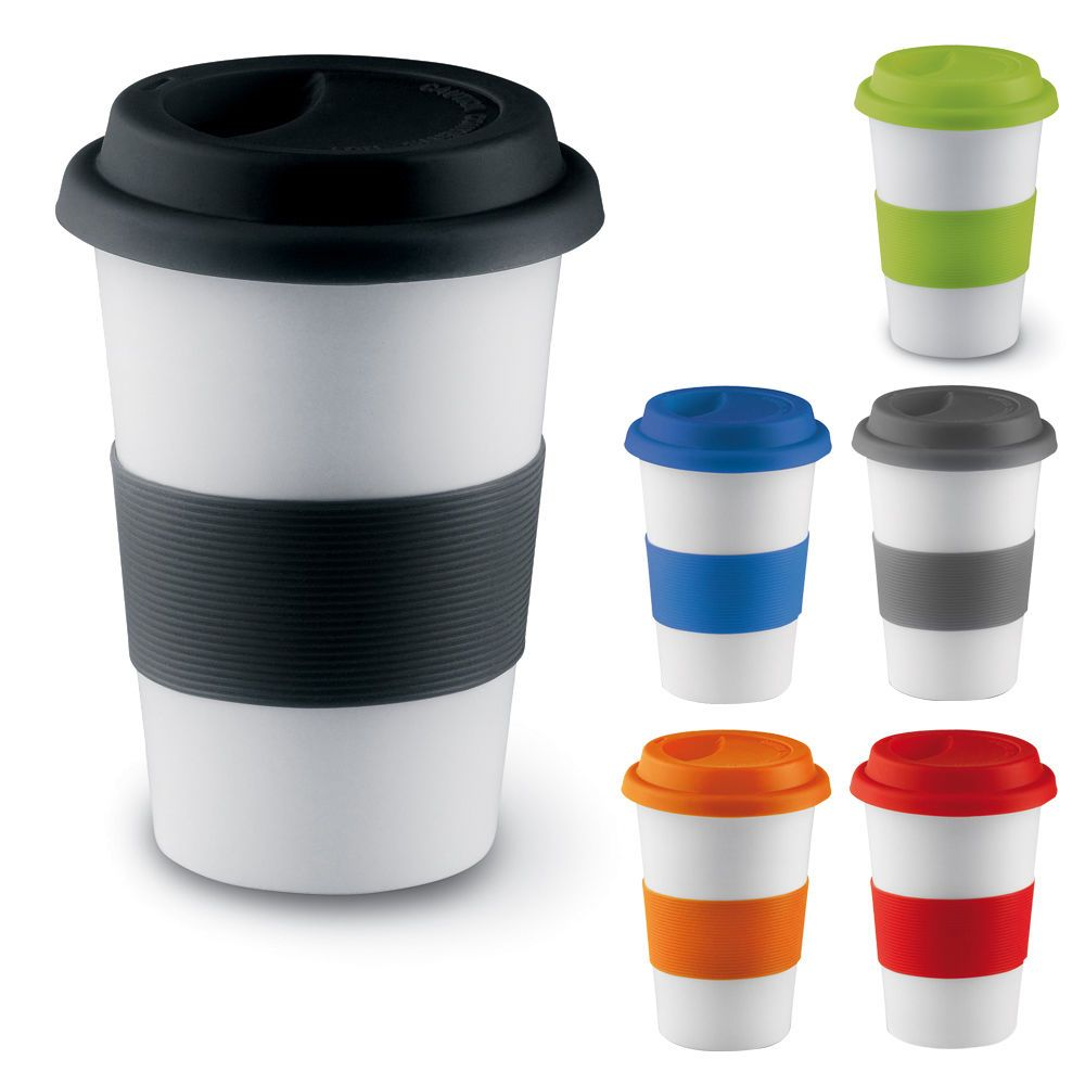Ceramic Thermal Insulated Cup Coffee Tea Plastic Travel Mug Takeaway Lid 400ml