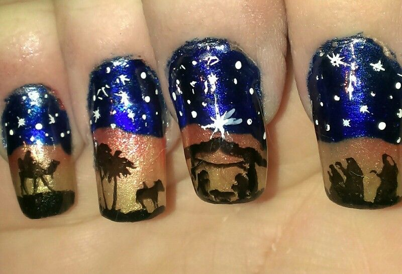 Nativity scene   Christmas Nails   Pinterest   Manicure