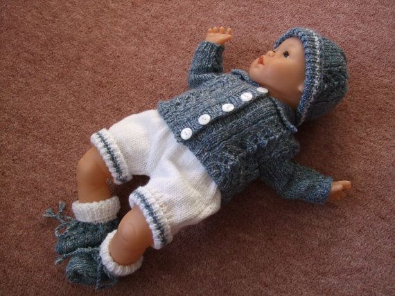 "Hand Knitted Outfit for 18"" Doll/ Reborn Baby Boy"