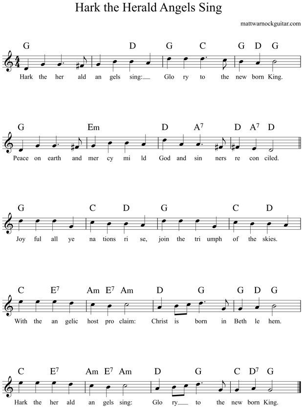 hark the herald angels sing guitar chords 1 | Guitar | Pinterest ...