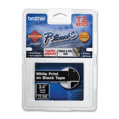 Brother TZE345 P-Touch Standard Adhesive Laminated Labeling Tape, 3/4W