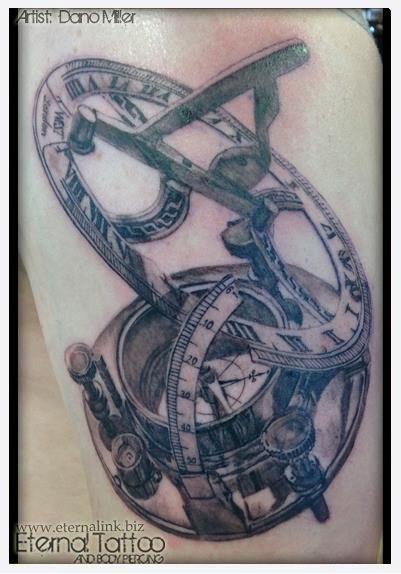 compass and sundial realistic black grey tattoo artist dano miller pinterest grey. Black Bedroom Furniture Sets. Home Design Ideas