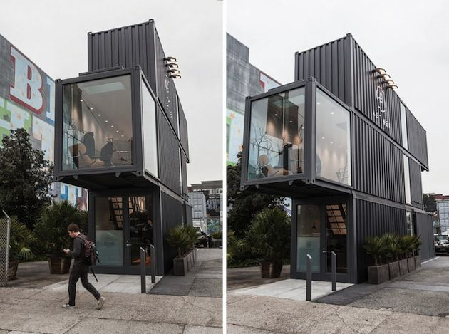 Aether Apparel Stacked Shipping Container Store Located