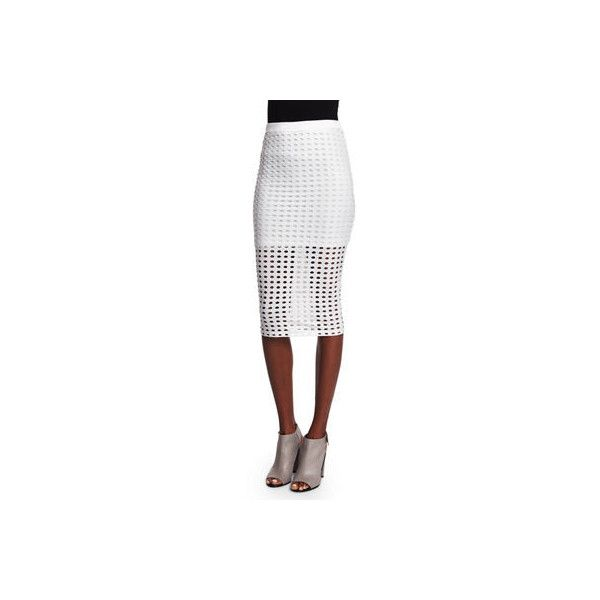 T By Alexander Wang Eyelet Jacquard Pencil Skirt ($117) ❤ liked on Polyvore featuring skirts, white, white eyelet skirt, pencil skirts, eyelet pencil skirt, below the knee pencil skirts and below knee length pencil skirts