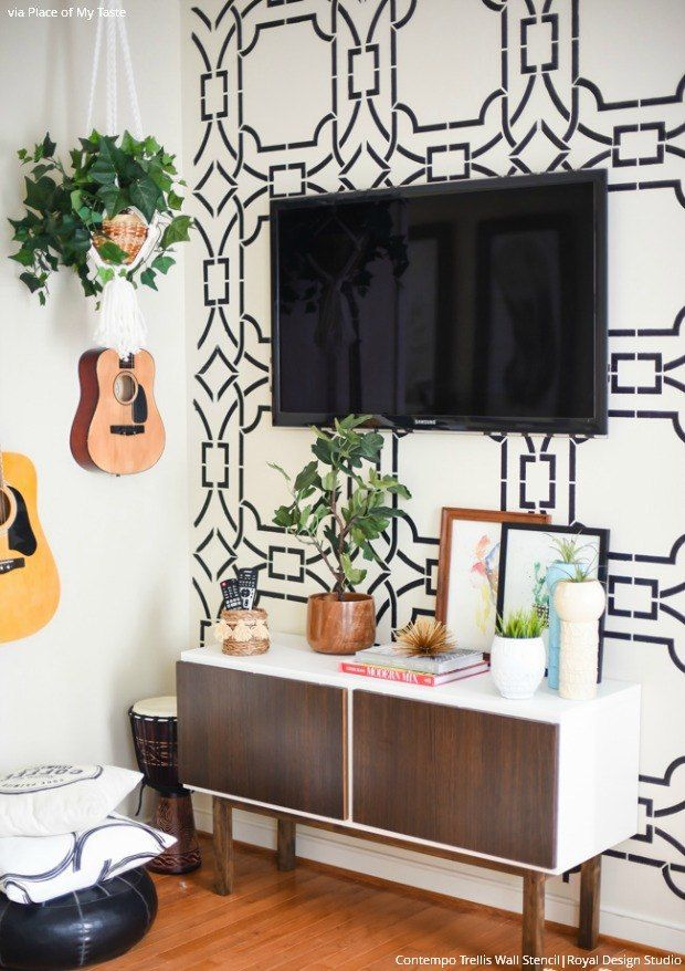 Boho Library Wall Living Room: Get The Look: Stencil A Boho Chic Accent Wall