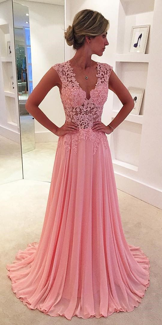 Deep V-neck Chiffon Prom Long Dresses Lace Appliques Back Evening ...