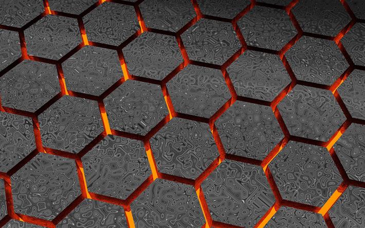 Download Wallpapers Hexagons 4k Art Gray Background Cretive Grid Besthqwallpapers Com Digital Wallpaper Geometric Digital Wallpaper Textured Wallpaper