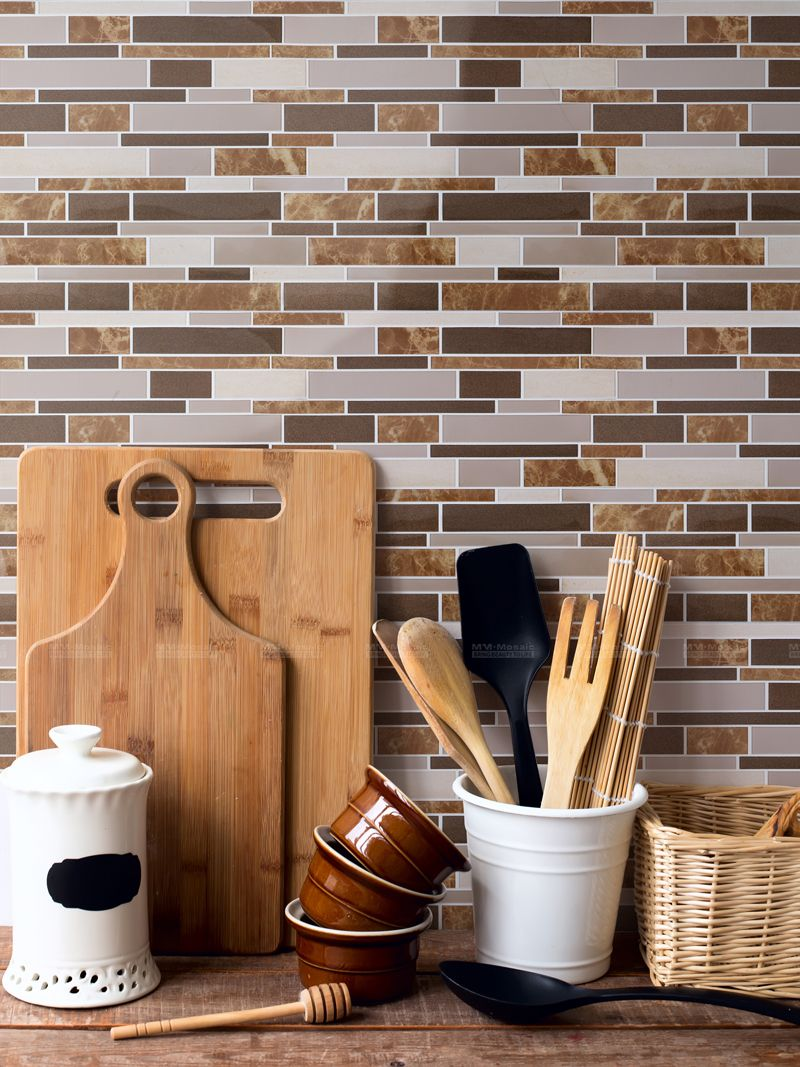 Bored With Your Backsplash We All Love Natural Browns And Farmhouse Feeling Like That Our Peelandstick Make In 2020 Diy Kitchen Renovation Stick On Tiles Diy Tile
