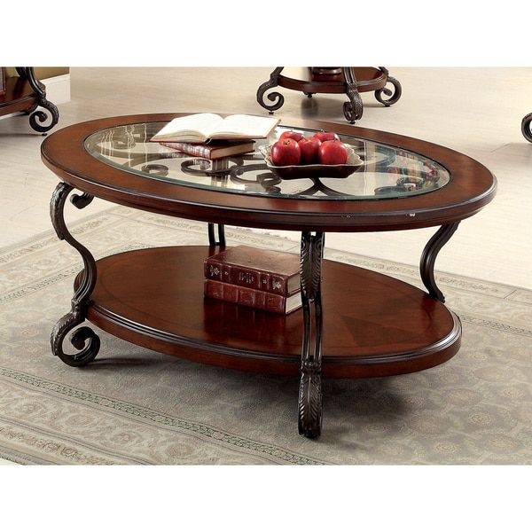 Furniture Of America Cohler Elegant Gl Top Oval Coffee Table