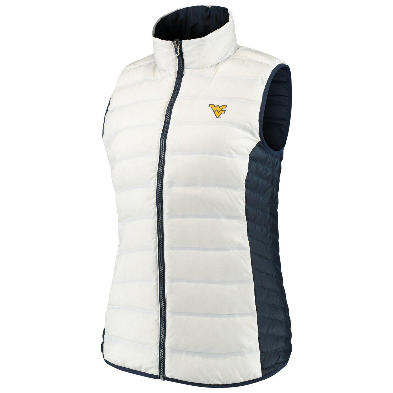 Women's Columbia White/Navy West Virginia Mountaineers Lake 22 Reversible Puffer Vest #westvirginia