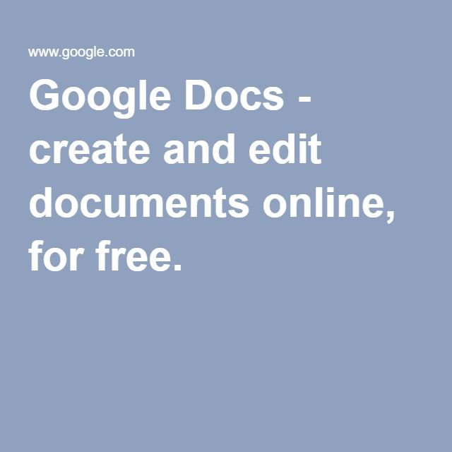 Google Docs - create and edit documents online, for free Work