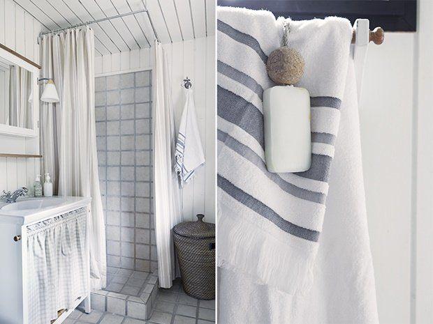 Photo of Maritime look in the bathroom – Nordic coastal cabin
