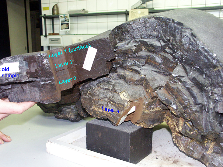 MEET THE EARTH'S HISTORIAN: Klaus Knie used this 25 cm-thick ferromanganese crust sampled from the depth of 4,830m in the Pacific Ocean to trace the Fe-60 isotopes.