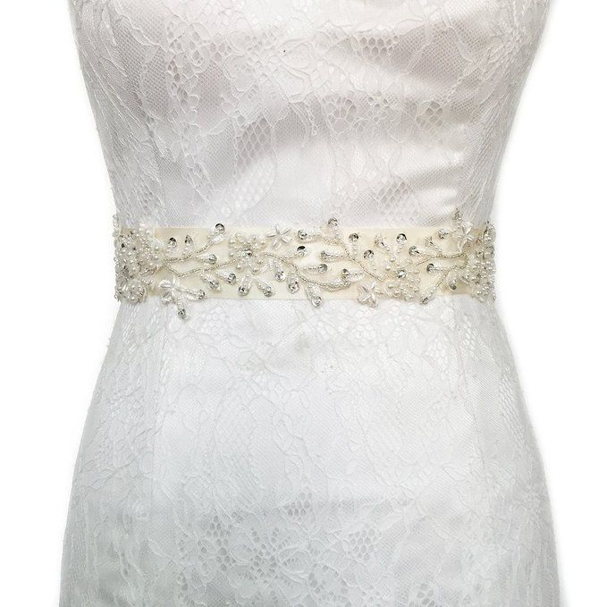 Azaleas Women's Vintage Lace Applique with Pearl Sequins Wedding Belt Black One Size at Amazon Women's Clothing store: